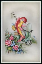 Motorcycle vespa scooter humor fish fishing original old 1950s postcard