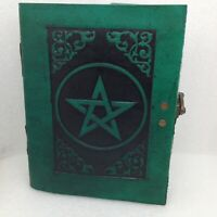 Green Leather Grimoire Pentagram Journal Embossed Book of Shadows Diary