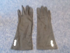 Vintage Black silky nylon ladies embroidered flowers buttons glove size L or 8