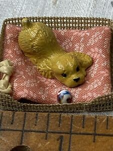 Miniature Dollhouse Dog Toy And Bone In Bed Dog Is Metal EVG17