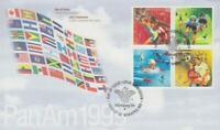 1999 Canada #1801 - 1804 📭🎽 PAN AMERICAN GAMES 🎽 BLOCK First Day Cover 🎽📬