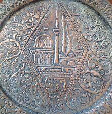 6 Piece Vintage Copper Turkish Coffee Serving Set Hand-Hammered Mosque Design