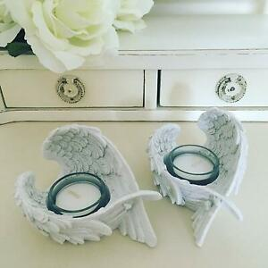 White Angel Wings Tea light Holder Votive Candle Home Decoration Gift PAIR