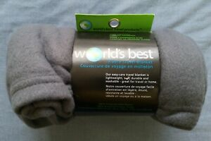 World's Best Grey Fleece Travel Blanket Size 127cm x 152cm New In Pack