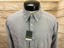 New John Bartlett Shirt Button Front Mens 16 1/2 X 34/35 Gray Check