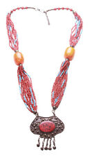 Red Blue & Large Orange Beads/rustic Bronze/ Red Stone Centre necklace (Zx176TR)