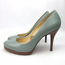 Womens Nine West Baby Blue Heels Leather Pumps Wood Sole Shoes Size 9 Robins Egg