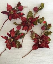 4 Apple Pomagrante Berry Fruit Swag - Home Interior Decor Poinsettia Red Gold