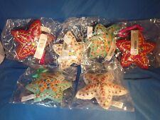 6 New Ashland Boho Christmas Ornaments Fabric Stars with Jewels