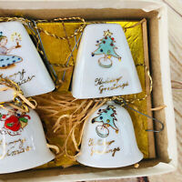 Vintage Set of 10 Ceramic Merry Christmas Bells original box Japan 60's