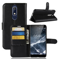 Leather Wallet Pouch Flip Book Card Slot Stand Case Cover For Nokia 5.1  (2018)