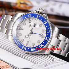 Parnis 43mm White Dial Ceramic Bezel Sapphire Glass GMT Automatic Date Watch