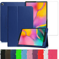 """Samsung Galaxy Tab A 10.1"""" 2019 T510/T515 Leather Flip Case & Glass Cover Tablet"""