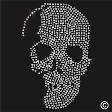 SKULL Rhinestone Diamante Transfer Iron On Hotfix Gem Crystal Motif Applique