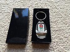 England Rugby RFU Crest Chrome Bottle Opener Keyring - Rugby Gift