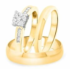 His & Her  Round Cut Diamond Wedding Engagement Trio Ring Set 14k Yellow Gold Fn
