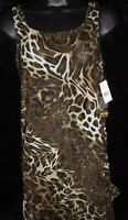 Longitude cover up Small dress Swimwear womens brown animal print Sheer NWT