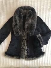 100% SHEEPSKIN SHEARLING GENUINE  LEATHER JACKET COAT FOX FUR BLACK SIZE M