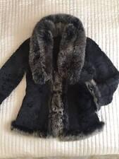 100% Pelle di Pecora Shearling Vera Pelle Giacca Cappotto Pelliccia di volpe nero taglia M