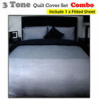 3 Tone Quilt / Duvet Cover Set + Fitted Sheet - SINGLE DOUBLE QUEEN KING