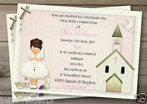 PERSONALISED FIRST HOLY COMMUNION PAPER INVITATION OR THANK YOU CARD & ENVELOPES