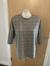 Ladies Grey And Yellow Dogtooth Checked Design Dressy Tunic Top Size 12/14