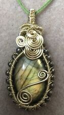 Gold Wire Wrapped  Labradorite Gemstone Cabochon Pendant Necklace