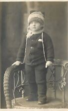 Little Girl in Furry Fuzzy Snow Suit & Pants~Hat With Net Over Face~1910 RPPC