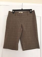 Michael Kors Woman's Bermuda Dress Shorts - Brown Plaid Size 8