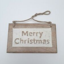 Merry Christmas Wooden Rectangle Hanging Sign