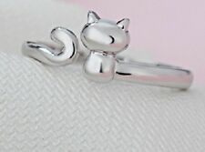 Anillo abierto del gato del gatito del gatito del tono de plata, tamaño BRITÁNIC