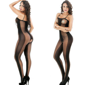 Sheer Bodystocking Open Crotch Body Stocking Lingerie Babydoll Plus Size 6-16