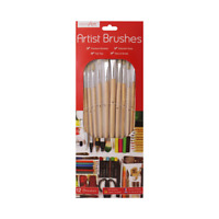 Artist Paint Brushes - Assorted Sizes - Flat Tips - Natural Bristles Size 1-12