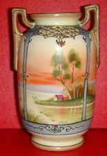 "NORITAKE URN VASE 5 1/2"" TALL HAND PAINTED ISLAND HOME"