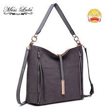Fashion Grey Ladies Designer Suede Slouch Hobo Handbag Shoulder Tote