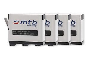 4x Batterie AHDBT-401 pour Gopro Hero4 Black, Silver Edition - 1160mAh Li-Ion!!