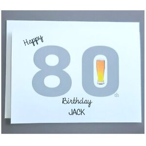 Personalised 80th Birthday Card Male - 80 Years Old - Dad Husband Father Grandad
