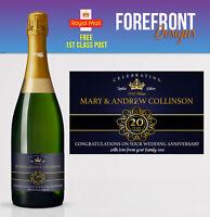 Personalised Champagne bottle label 10/20 YEAR wedding anniversary/wedding GIFT