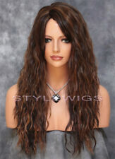 Brown/Auburn/Blonde Mix Long Curly Wavy Heat OK Synthetic Hair Wig ABLI 4/27/30