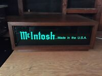 McINTOSH ELECTRIC WINDOW SIGN WITH WOODEN CABINET