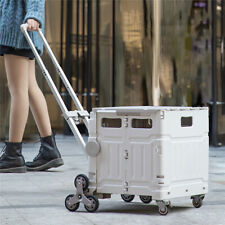 New Listingaluminum Alloy Foldable Heavy Duty Utility Cart Portable Gray Hand Rolling Crate
