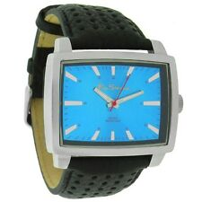 MENS BEN SHERMAN WATCH SKY BLUE RECTANGULAR DIAL BLACK FAUX LEATHER STRAP R936