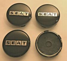 4x Seat Word Black / Silver 60mm Wheel Centre Caps New Emblem Cap Base ( Black )