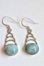 "Sterling Silver Blue Larimar Oval One-stone ""Ladder"" Dangle Earrings"