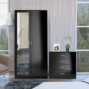 Bedroom Furniture Set Black Mirror Door Wardrobe Chest of Drawer Bedside Cabinet