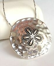 """Silver Sand Dollar Necklace Plated Island Beach Shell Sea Life 24"""" Plus Size"""