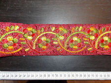80mm marron brodé ribbon trim indian asiatique decor applique sari appliqué