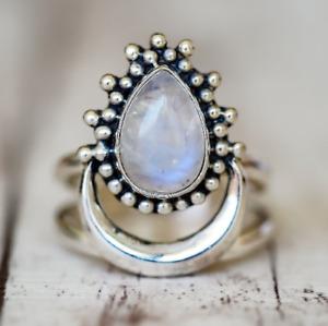 Boho 925 Silver 7*9 Pear Natural Rainbow Moonstone Wedding Rings Gifts Wholesale