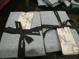 2 West Elm Belgian flax linen  King shams shadow blue New with tag