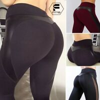 Womens High Waist Yoga Pants Push Up PU Leather Workout Fitness Stretch Trousers